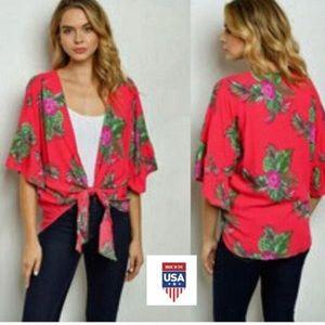 Tops - Fuchsia Floral Palm Print Kimono 🌸 🌴